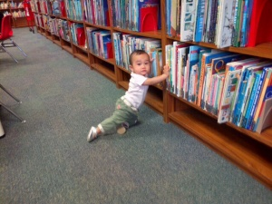 Alyanna in the library when she was about 8 mos old