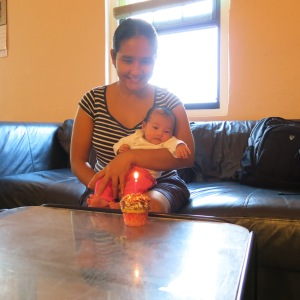 Yanna's first month. George bought one red-velvet cup cake from Miles Market.
